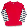 Red/Navy & Gray Stripe LS T-Shirt