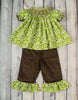 Smocked Green and White Damask Bishop Top Pant Set - Girls - Stellybelly - 1