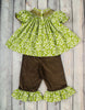 Smocked Green and White Damask Bishop Top Pant Set - Girls - Stellybelly - 2