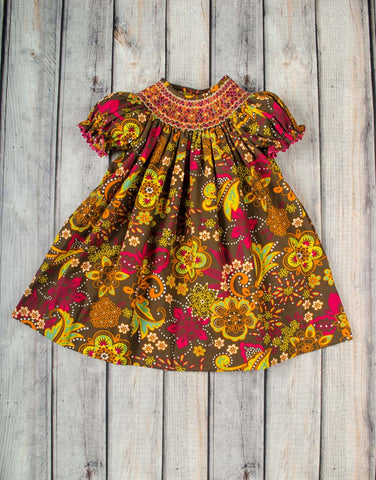 Smocked Flower Dusk Bishop - Girls - Stellybelly - 1
