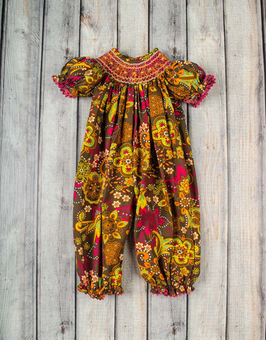 Smocked Flower Dusk Long Bubble - Girls - Stellybelly - 1
