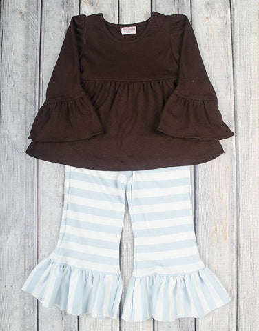 Brown/Light Blue Stripe Peyton Pant Set - Girls - Stellybelly - 1