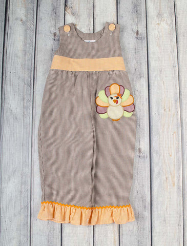 Turkey Applique Ruffle Romper