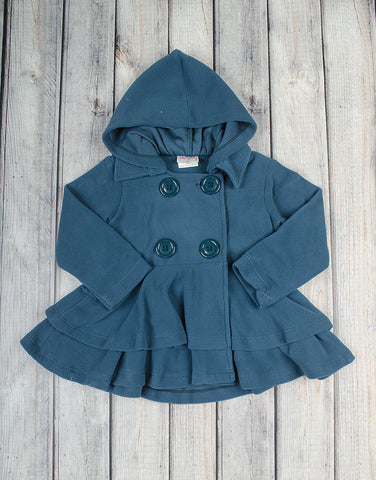 Deep Blue Fleece Peacoat - Girls - Stellybelly