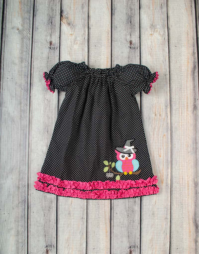 Halloween Owl Stella Puff Sleeve Dress - Girls - Stellybelly - 1