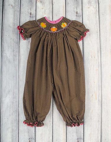 Smocked Bright Pumpkin Long Bubble - Girls - Stellybelly