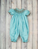 Smocked Aqua Burst Long Bubble - Girls - Stellybelly - 1