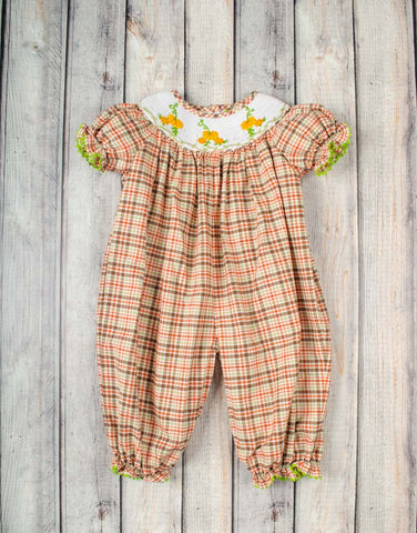 Smocked Pumpkin Vine Long Bubble - Girls - Stellybelly - 1
