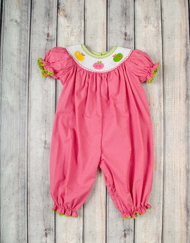 Smocked Bright Apples Long Bubble - Girls - Stellybelly - 1