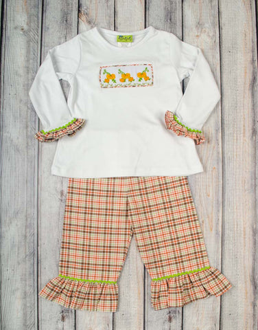 Smocked Pumpkin Vine Ruffle Pant Set - Girls - Stellybelly - 1