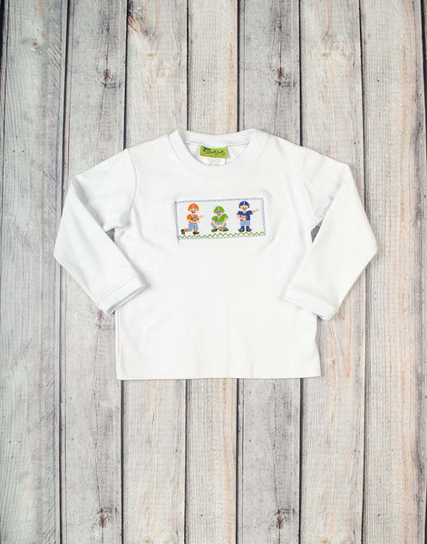 Smocked Football Players Long Sleeve Shirt - Boys - Stellybelly - 1