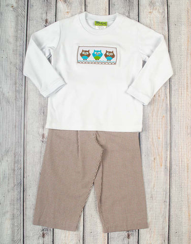 Smocked Owl Trio Boys Pant Set - Boys - Stellybelly - 1