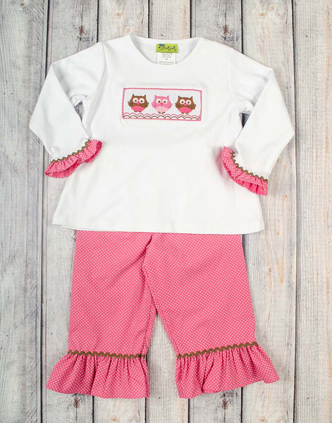 Smocked Owl Girls Ruffle T-Shirt Pant Set - Girls - Stellybelly - 1