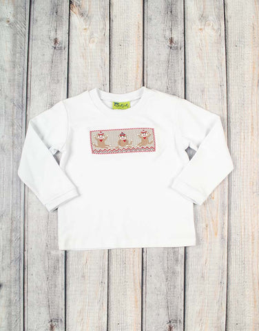 Smocked Sock Monkey Long Sleeve Shirt - Boys - Stellybelly - 1