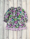 Purple Flower Swirl Stella Puff Sleeve Dress - Girls - Stellybelly - 1
