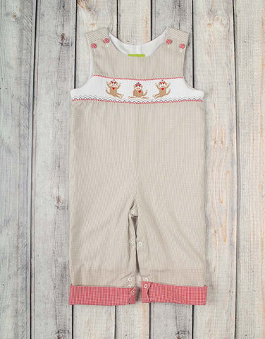 Smocked Sock Monkeys Longall - Boys - Stellybelly - 1