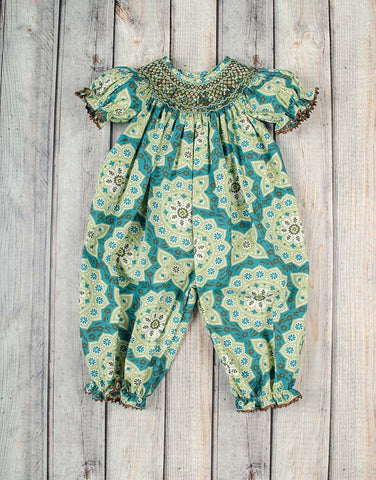 Smocked Mint Melody Geo Long Bubble - Girls - Stellybelly - 1