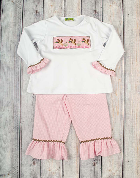 Smocked Pink Mallards Ruffle Pant Set - Girls - Stellybelly - 1