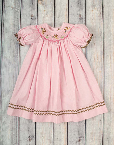 Smocked Pink Mallards Bishop - Girls - Stellybelly - 1