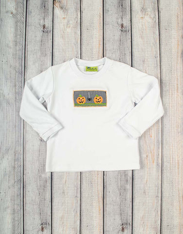 Smocked Jack O' Lantern Long Sleeve Shirt - Boys - Stellybelly - 1