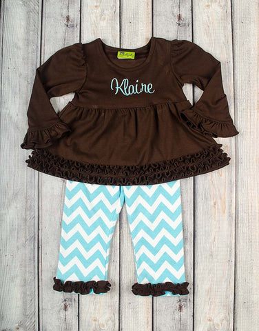 Brown/Aqua LS Chevron Sophia Legging Set - Girls - Stellybelly - 1