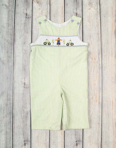Smocked Green Scarecrow Longall - Boys - Stellybelly - 1