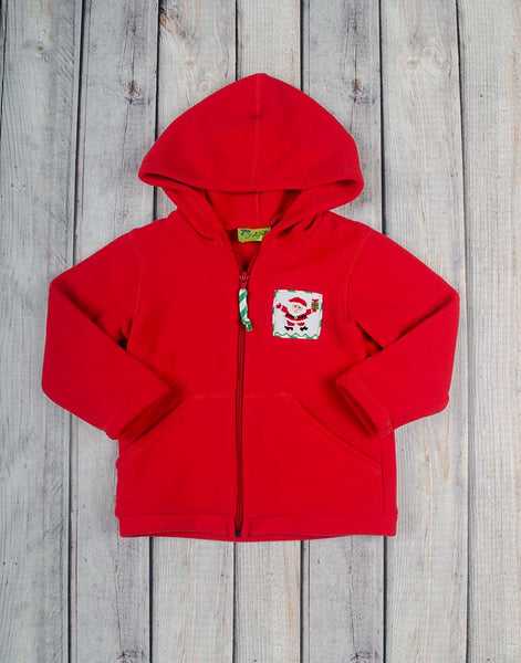 Smocked Santa Red Fleece Hoodie - Unisex - Stellybelly - 1