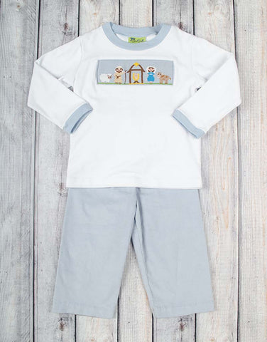 Smocked Light Blue Nativity Pant Set - Boys - Stellybelly - 1