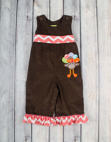 Chevron Girlie Turkey Ruffle Romper - Girls - Stellybelly - 1