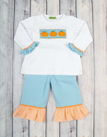 Aqua Gingham Pumpkin Smocked Ruffle Pant Set - Girls - Stellybelly - 1