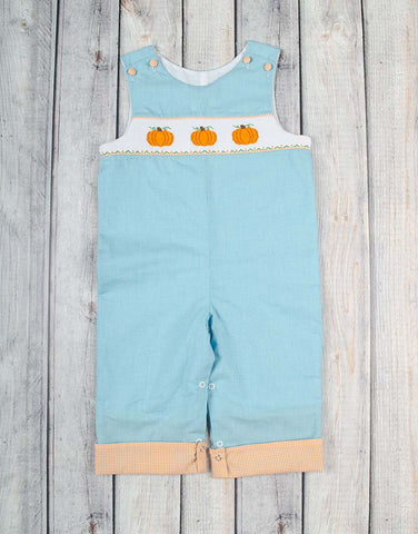 Aqua Gingham Pumpkin Smocked Longall with Roll-Up Cuff - Boys - Stellybelly - 1