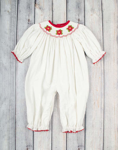 Smocked Poinsettia Long Bubble - Girls - Stellybelly - 1