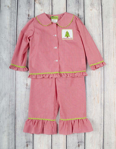 Girls Red Smocked Christmas Tree Loungewear - Girls - Stellybelly - 1