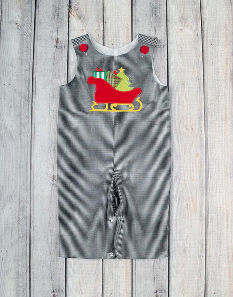 Santa Sleigh Applique Longall - Boys - Stellybelly - 1