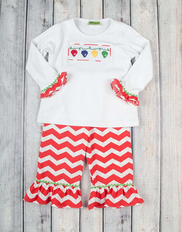 Smocked Christmas Lights Ruffle Pant Set - Girls - Stellybelly - 1