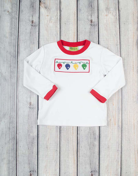 Smocked Christmas Lights T-Shirt - Boys - Stellybelly - 1