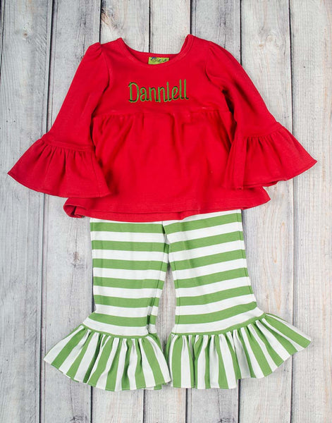 Red/Green Stripe Peyton Pant Set - Girls - Stellybelly - 1