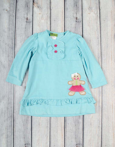 Gingerbread Applique Girl Presley Ruffle Dress - Girls - Stellybelly - 1