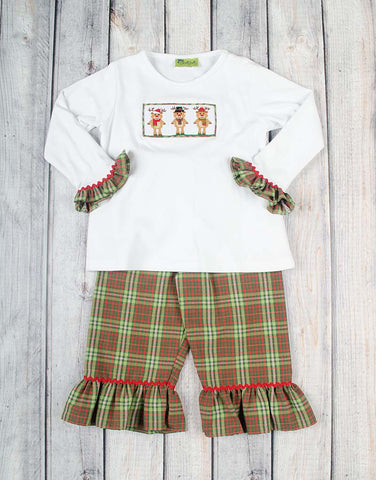 Smocked Plaid Reindeer Girls Ruffle Pant Set - Girls - Stellybelly - 1