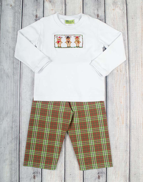 Smocked Plaid Reindeer Boys Pant Set - Boys - Stellybelly - 1