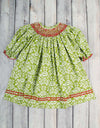 Green Damask Bishop with Red Smocking - Girls - Stellybelly - 1