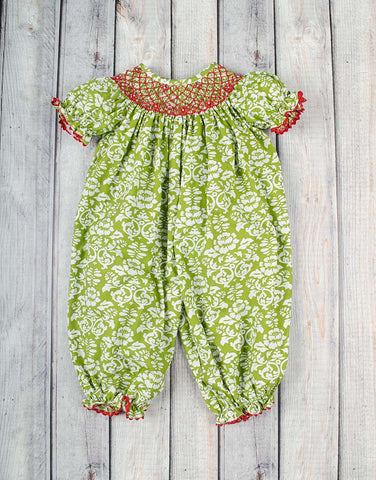 Green Damask Long Bubble with Red Smocking - Girls - Stellybelly - 1