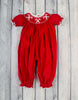 Smocked Candy Cane Long Bubble - Girls - Stellybelly - 1