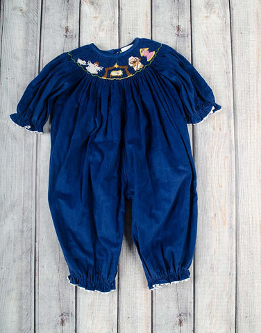 Smocked Nativity Long Bubble - Girls - Stellybelly - 1