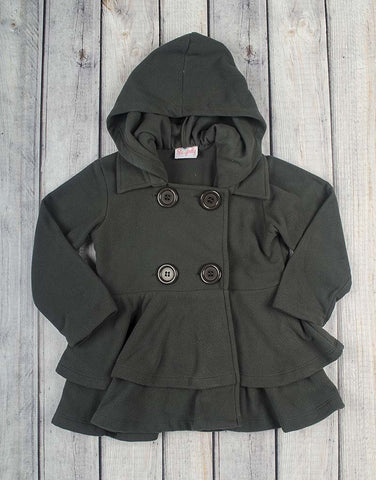 Gray Fleece Peacoat - Girls - Stellybelly - 1