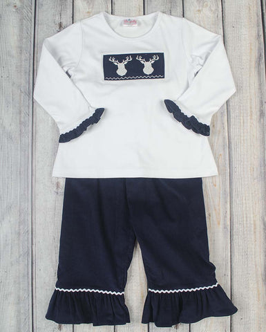 Smocked Deer Girls Pant Set - Girls - Stellybelly - 1