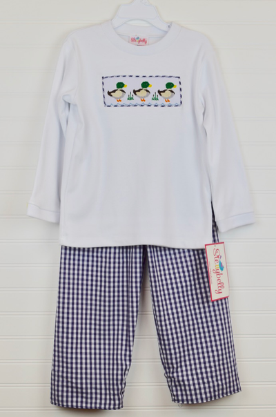 Smocked Mallard Shirt & Navy Gingham Shirt Set