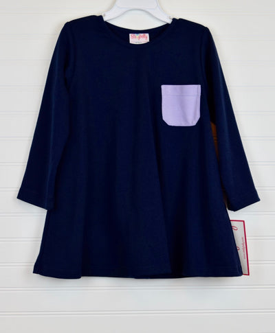 Navy & Lavender Knit Pocket Dress