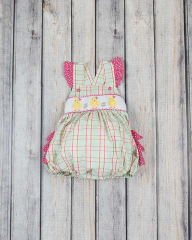 Smocked Easter Chick Ruffle Bubble - Girls - Stellybelly - 1