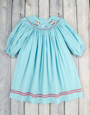 Smocked Aqua Eskimo Bishop - Girls - Stellybelly - 1